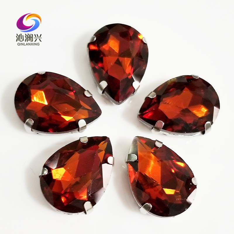 Dark brown teardrop shape High quality Glass Crystal flatback sew on claw rhinestones,Diy Clothing accessories SWS31