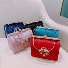 Meloke new Luxury design Boxed evening bag velvet retro square handbag female diamond Clutch Bag gold wedding party purse MN2019