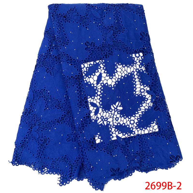 Leaves Pattern Guipure Lace Fabric Royal Blue Milk Silk Lace Fabrics with Stones Cord Lace Fabric
