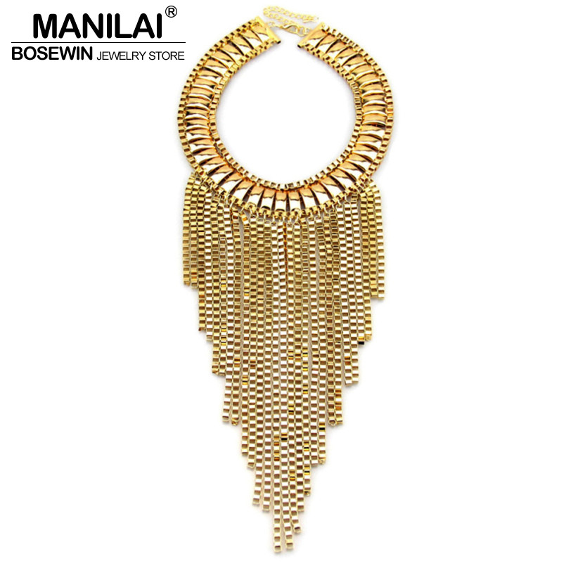 MANILAI Fashion Maxi Tassels Necklaces Bib Collar Chunky Choker Long Chain Statement Necklaces Pendants Women 2016