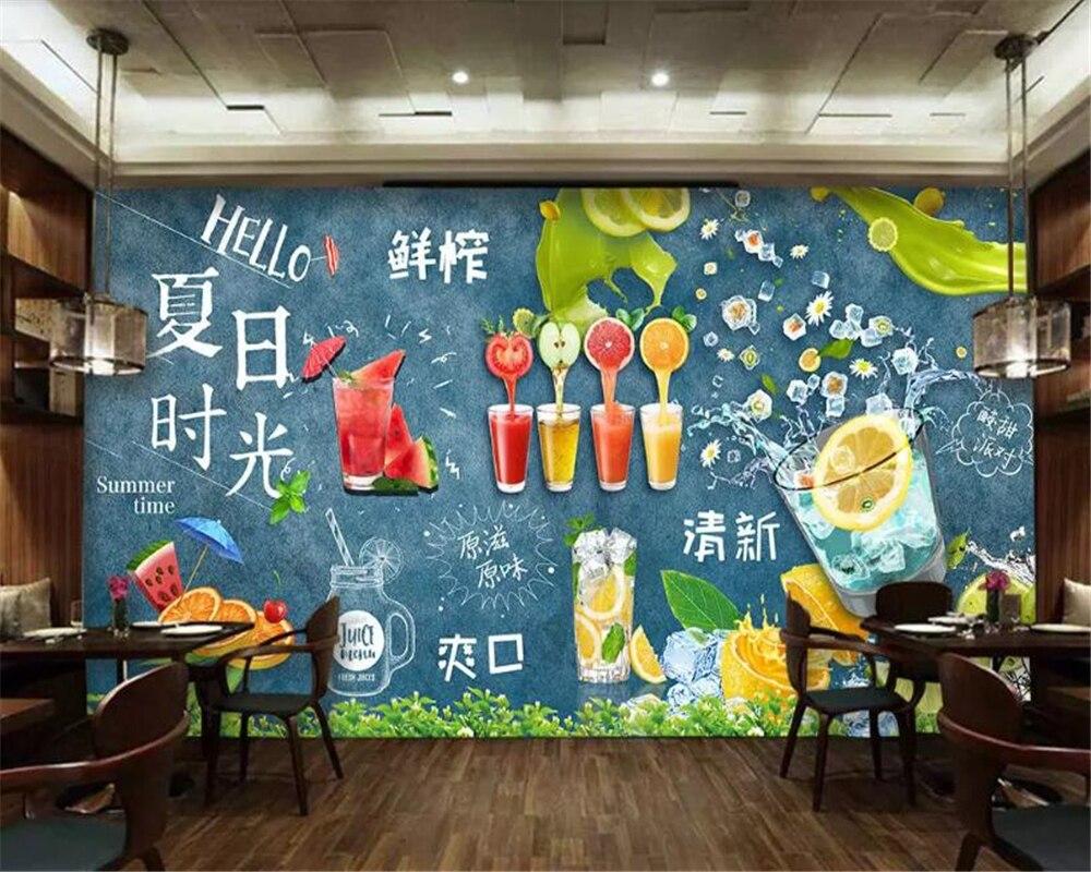 Us 8 96 44 Off Beibehang Wall Murals Custom Stickers Wallpaper Fresh Juice Fresh Drink Kitchen Wallpaper Tooling Wall Papier Peint Mural 3d In