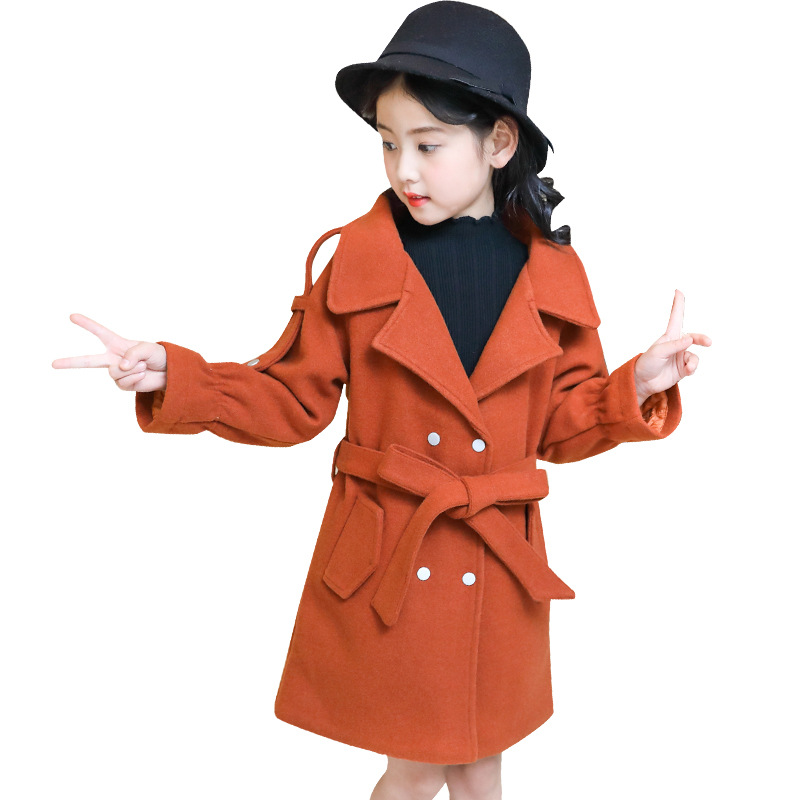 kids clothes 2018 autumn winter new girls waist quilted wool coat thick double-breasted solid long 3-12 years baby girl clothes waist belted solid long coat
