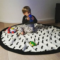 Child Favorite Character Multifunction Pouch Durable Black White Child Play Rugs Toy Storage Bag Beard Panda