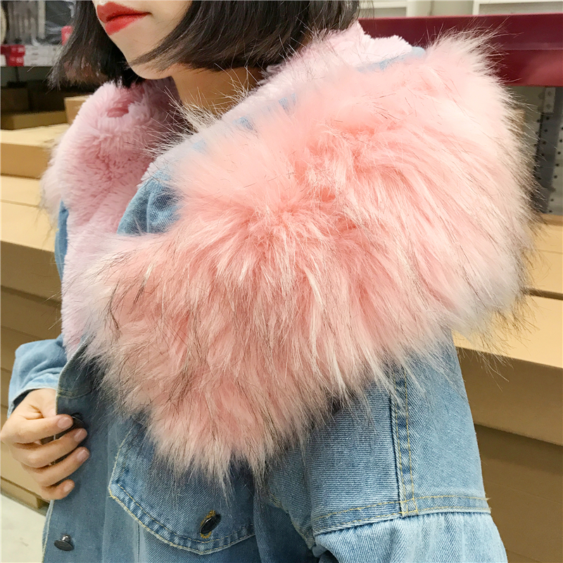 BONU Winter Fur Denim Jacket For Women Thick plus size Loose Casual Jean Coat Single Breasted Winter Jean Jacket chaquetas mujer 2