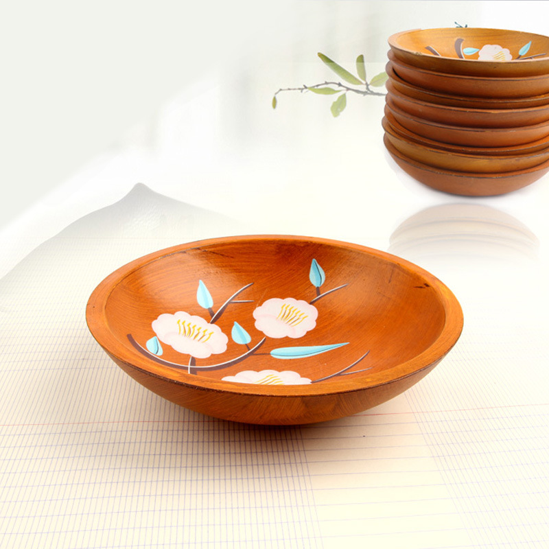 Pastoral Style Wooden Fruit Tray Hand-painted Saucer Snack Fruit Plate Bowls Serving Tra ...