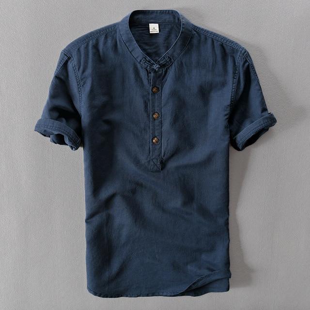 Летние Случайные Мужские Рубашки с коротким рукавом сплошной цвет Льняная Рубашка Мужская блузка Высокое Качество Военно-Морского Флота