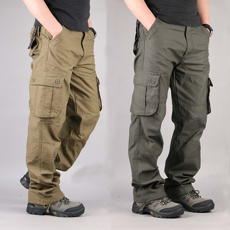 Plus Sz Mens Loose Cargo Baggy Hip Hop Long Pants Casual Trousers Pocket Overall