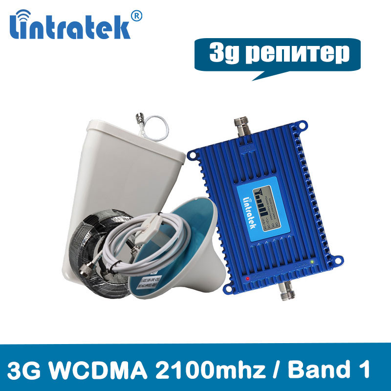 Lintratek 3G Repeater 2100MHz CellPhone Signal Booster UMTS 2100MHz Band 1 WCDMA Mobile Phone Amplifier 70dB AGC Repeater Kit