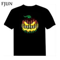 FJUN LED Short T Shirt Light short sleeve summer EL T Shirt Men for Rock DJ music sound activated style top rated fashion