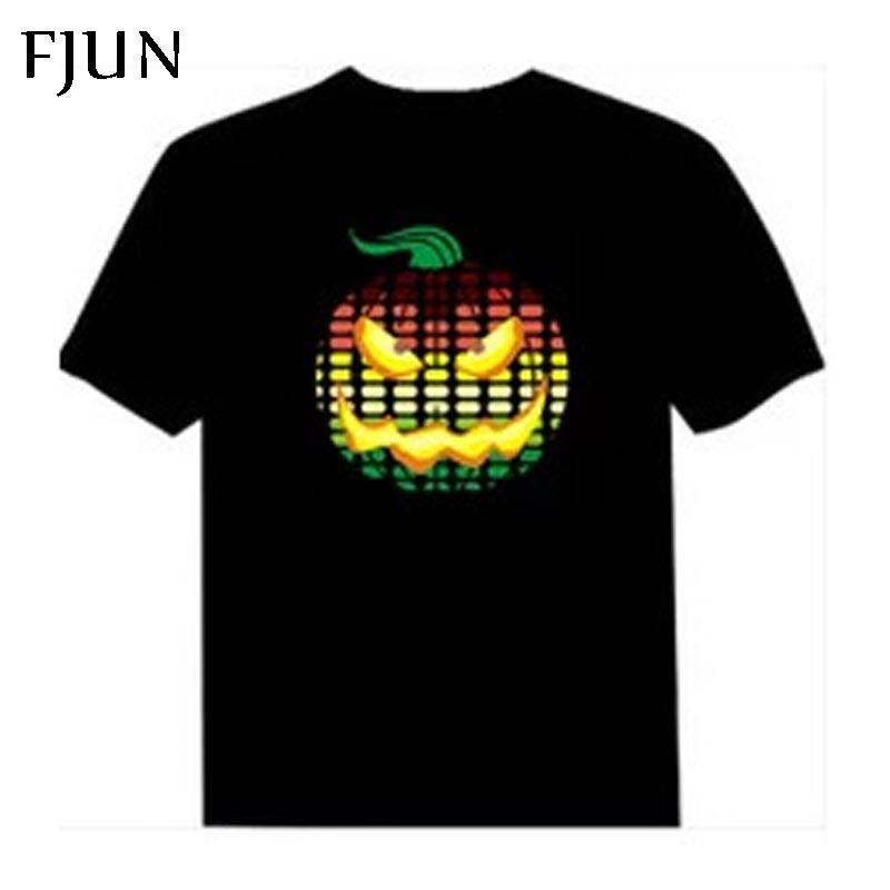 Fjun led curto t camisa luz de manga curta verão el camiseta masculino para rock dj música som ativado estilo topo avaliado moda
