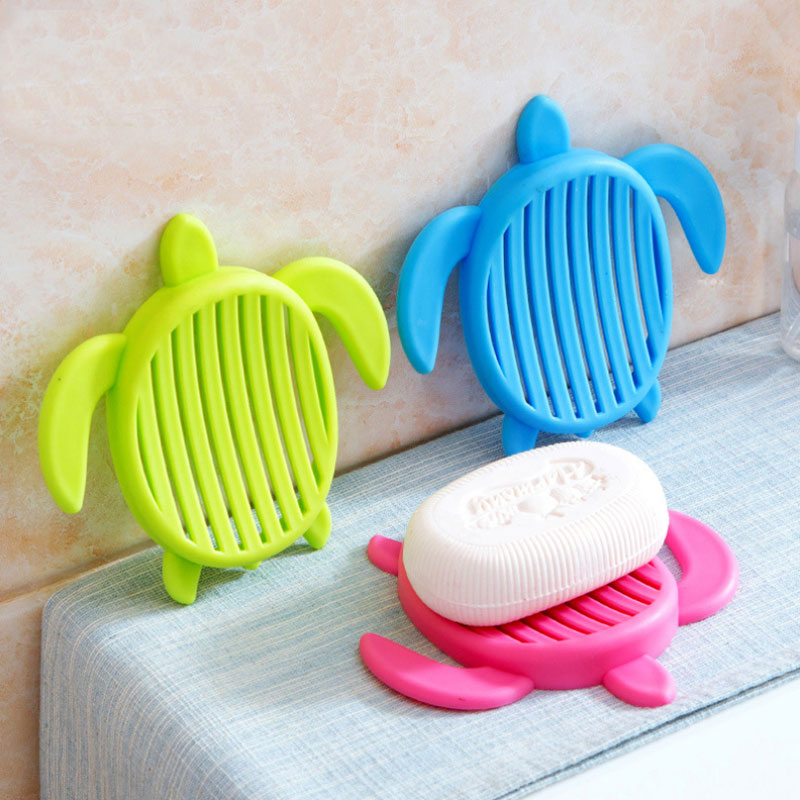 1pcs Tortoise Shape Plastic Home Travel Soap Dishes Soap Holder Soap Box With Cover Bathroom Set Soap Dish