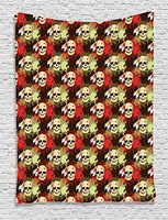 Skull Tapestry, Skull with Feathers Ethnic Tribe Backdrop With Colorful Blood Splash, Wall Hanging for Bedroom Living Room Dorm