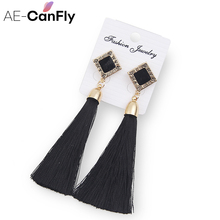 2017 Vintage Geometry Long Thread Tassel Earrings For Women Statement Earrings Wedding Dangle Drop Earrings Wholesale 1I2022
