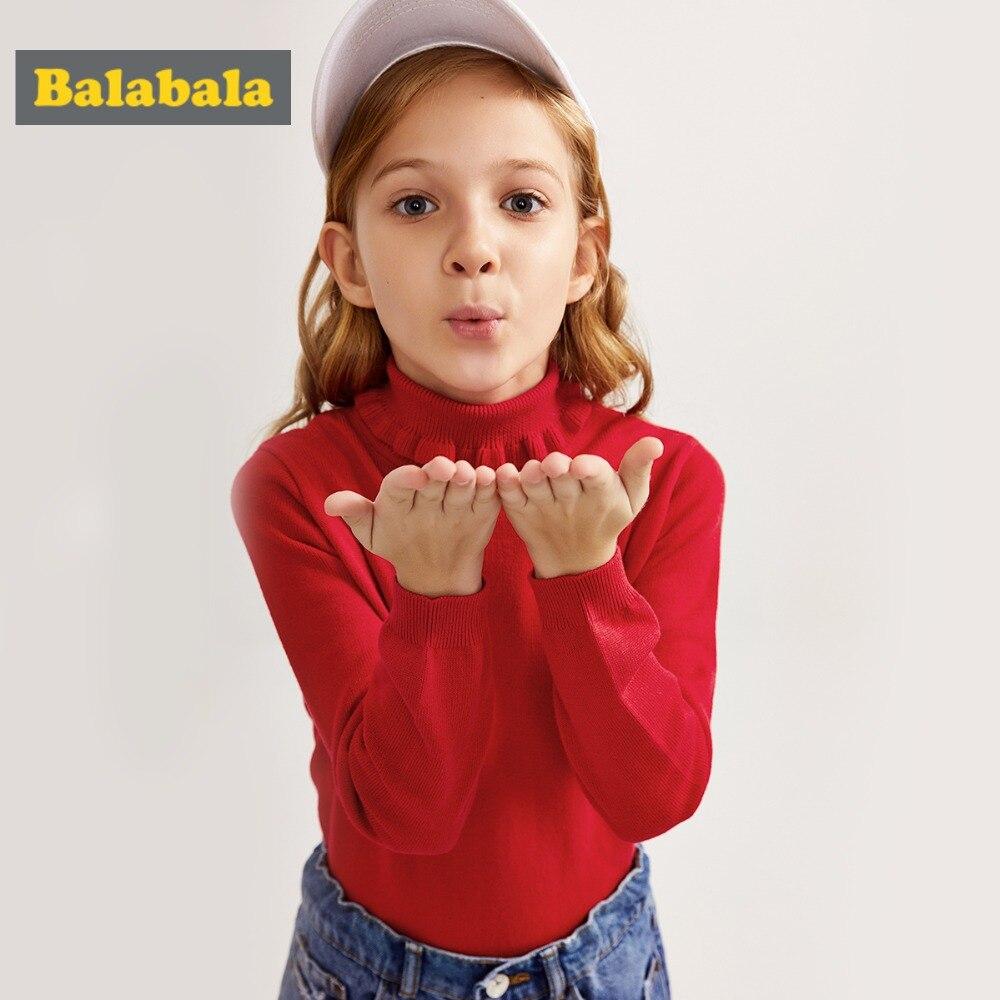 balabala Baby Girls sweater Cotton Children fashion Knitted turtleneck Sweater 2018 New Spring Autumn kids cartoon Outerwear