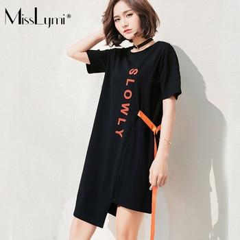 94c3b65d4 MissLymi M-4XL P tamaño de las mujeres vestidos de verano de 2019 estilo  coreano carta impreso de manga corta de arco vestido asimétrico negro
