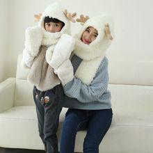 Cartoon Deer Design Hats Scarf For Children And Mother Set Soft Wool Winter Hat Girl Rubbit. Cap Kids Girls Boys Mom