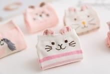 5 pairs/Lot Colors Cotton Women 2018 Fashionable Funny Japanese Cute Cartoon Stereo Ears Casual Short Boat Socks
