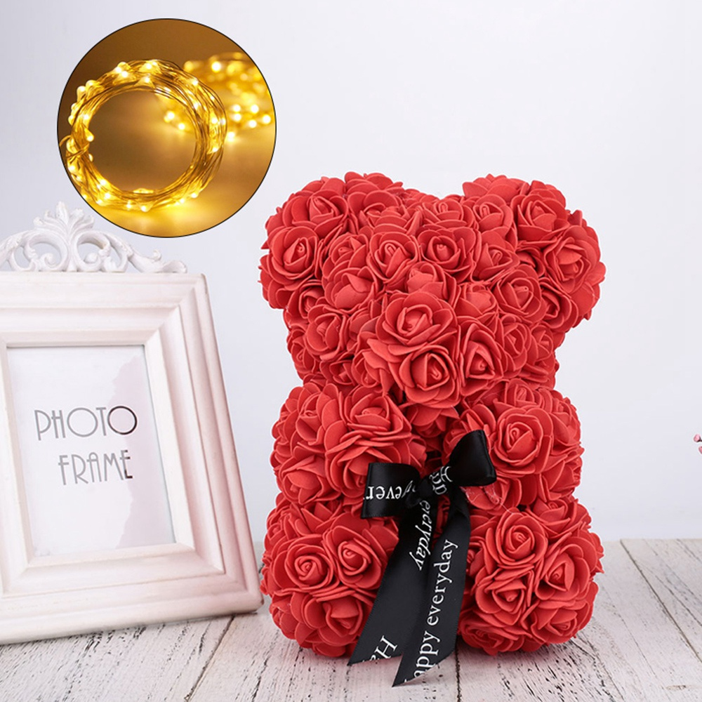 New-23Cm-Foam-Bear-Of-Roses-Bear-Rose-Flower-Artificial-2019-New-Year-Gifts-For-Women (3)
