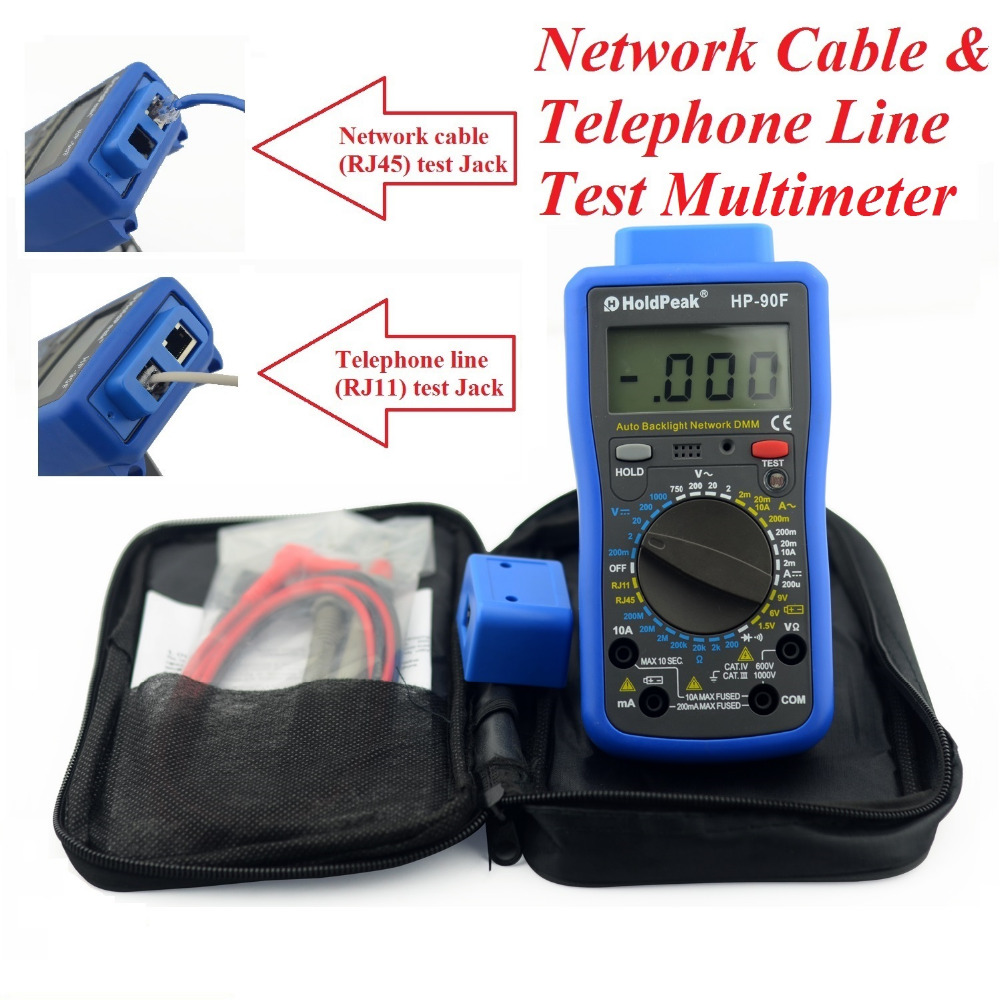 HoldPeak HP-90F Digital Network Multimeter Meter with Telephone Line and Network Cable Test Multimetro Digital 2pcs lot digital network multi meter