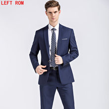 Jacket+Pants Mens Dark Blue and Black Suits With Pants 2017 New Classic Wedding Business Slim Fit Party Suit Men