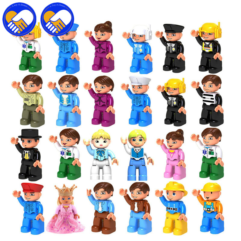 A TOY A DREAM 10PCS/Lot Family Figures Classic Big Building Blocks Compatible with Duploe DIY Education Baby Assemble Model Toys