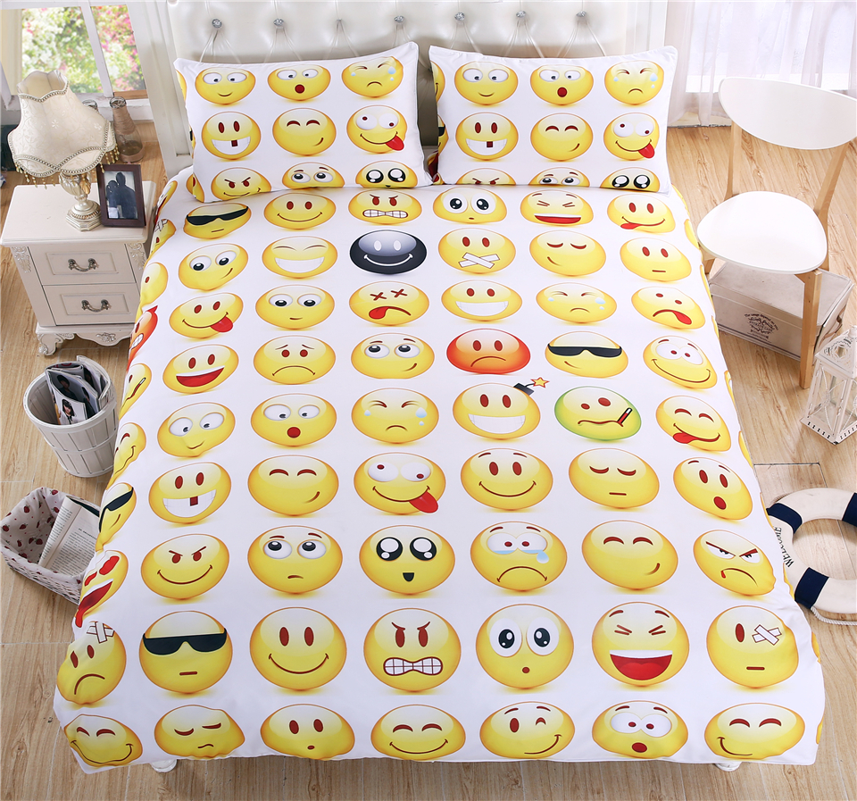 Free shipping cartoon expression duvet cover&pillow cases 3pcs smiling face bedding set twin full queen king size home textile