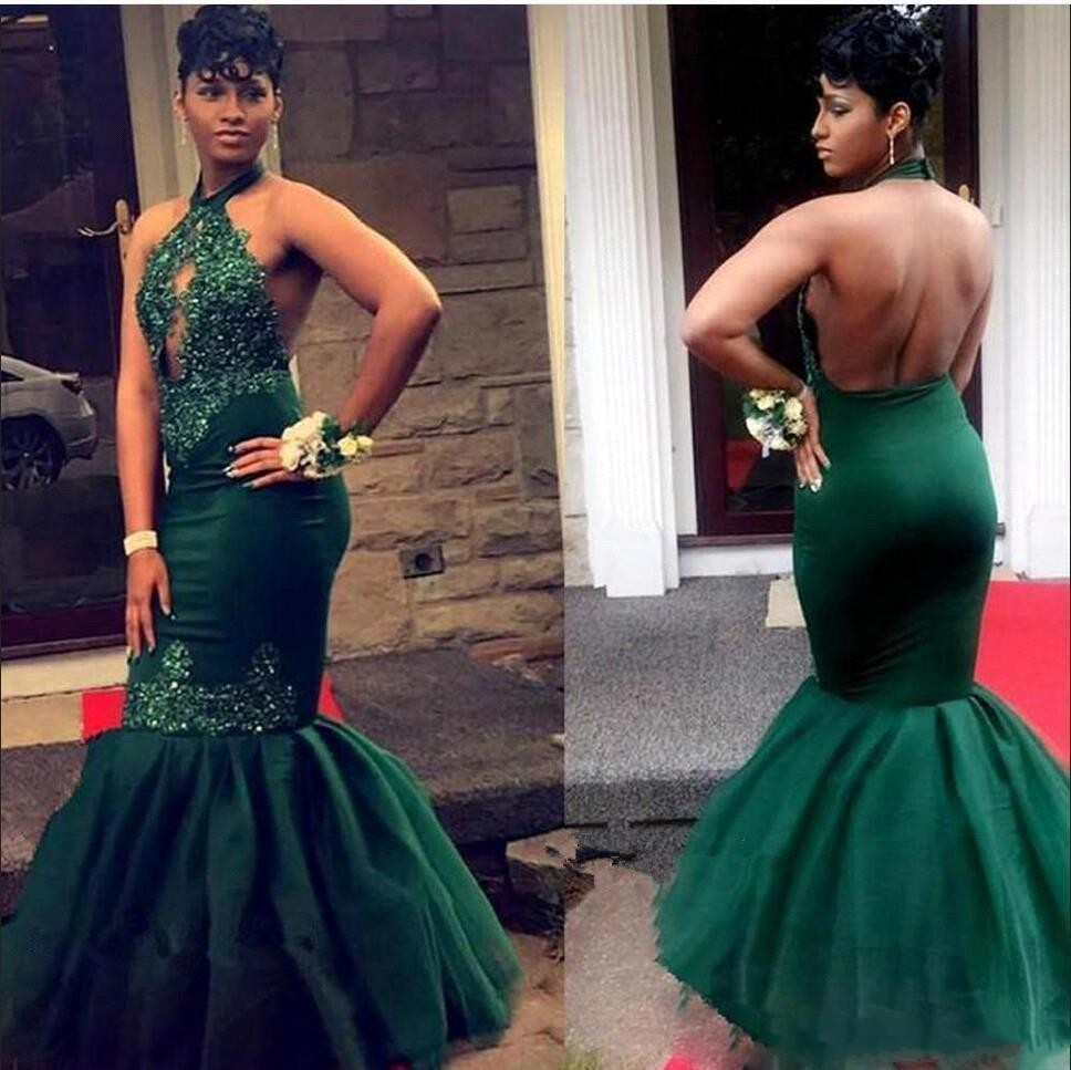 Dark Green Mermaid Prom Dresses 2019 Long Sexy Backless Halter Lace Appliques Sequins Formal Evening Gowns gala jurken dames