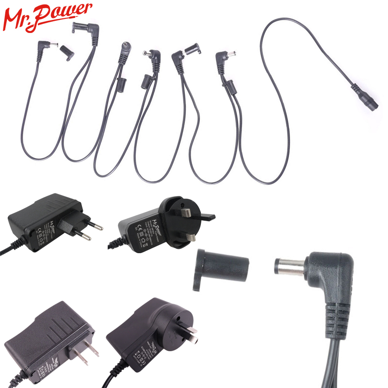 9V DC 1A Guitar Effects Pedal Powers Supply Adapter / Connectors + Power Cord 6 Way Chain Cable fonte pedal 62 B