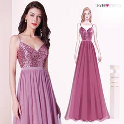 Длинное платье подружки невесты Ever Pretty EP07392 Элегантные линии V образным вырезом Тюль Свадебные праздничные платья блёстки Vestidos De Damas Honor