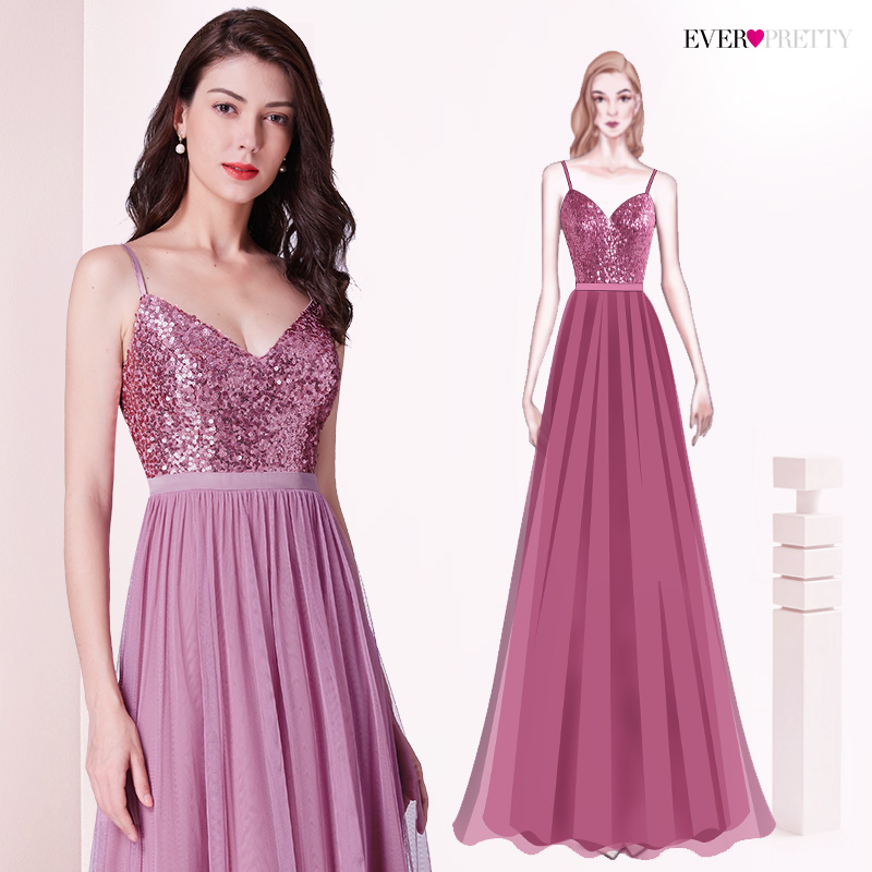Long   Bridesmaids     Dresses   Ever Pretty EP07392 Elegant A Line V Neck Tulle Wedding Party Gowns Sequins Vestidos De Damas De Honor