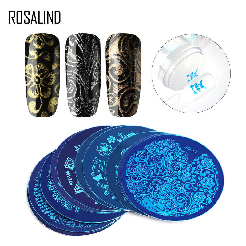 ROSALIND Nail Art Stamp Stamping Plate Stainless Steel Nail Template 20 Styles For Choose Manicure Stencil Tools Stamping