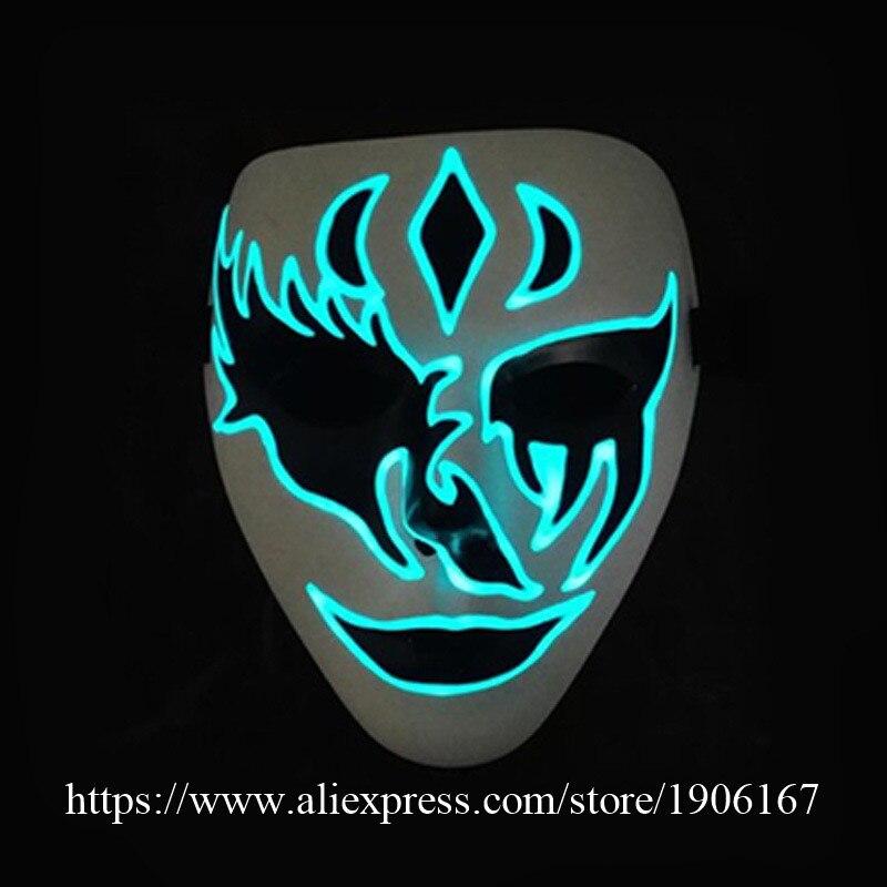 10 Pcs/Lot Bleu EL Fil Halloween Mort Masque Lumineux Hip-Hop Horreur Masque Clignotant Led Parti Masque Scène Performance Vêtements De Danse
