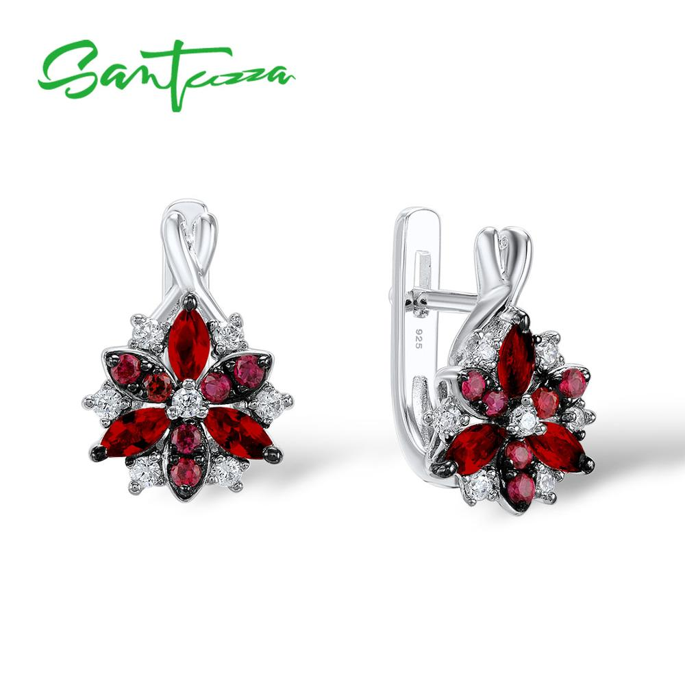 Santuzza Silver Stud Earrings for Women Red Stones White Cubic  Zirconia Ladies Pure 925 Sterling Silver Party Fashion Jewelrysilver  stud earringsfashion stud earringsstud earrings