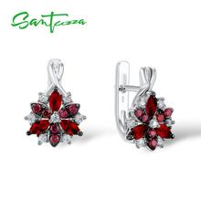 Santuzza Silver Stud Earrings for Women Red Stones White Cubic Zirconia Ladies Pure 925 Sterling Silver Party Fashion Jewelry