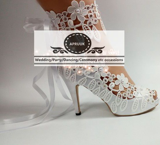 10cm 4 inch high heel summer peep toes ankle straps wedding <font><b>shoes</b></font> bride plus size HS364 <font><b>sexy</b></font> white lace crystal bridal pumps image