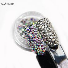 250pcs/box Crystal AB Rhinestone Shiny White Nail Rhinestones Mix Flatback Nail Art Decoration Accessory
