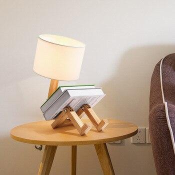 Mesas Auxiliares De Madera | Lámpara De Mesa De Madera Robot Con Pantallas Blancas Negras Lámpara De Mesa Moderna Habitación De Niños Habitación De Estudio Cama Lados Lámpara De Mesa Japonesa