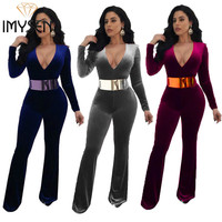 IMYSEN New Plus Size Jumpsuit Women Romper Spring Autumn Deep V Neck Long Sleeve Casual Rompers