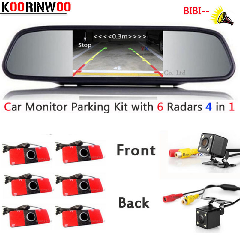 Koorinwoo Universal Dual Core CPU Car Parking Sensor 16.5mm Alarm Reverse Radar 6 Front camera Parkronics Car Rear view camera kinetics пилка шлифовщик для ослабленных и поврежденных ногтей 180 240 miss rhino