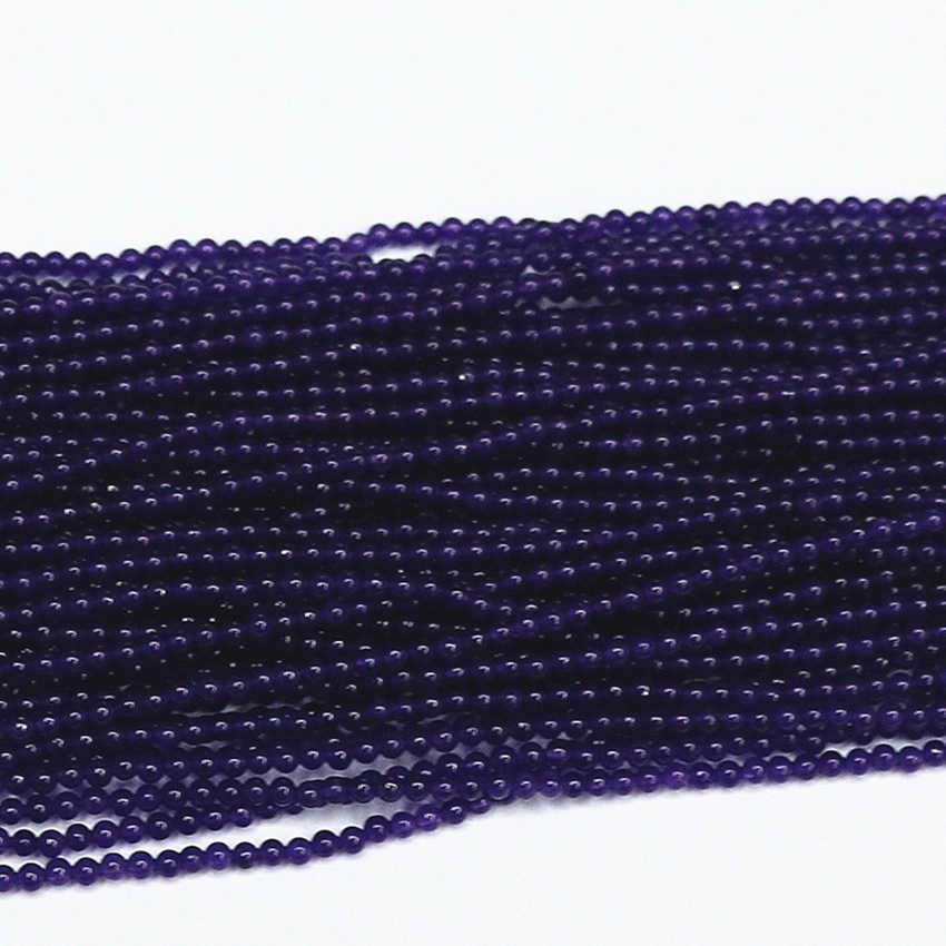 2 мм 3 мм натуральный камень темно-фиолетовый нефрит круглые бусины Халцедон камень подходит diy ожерелье b Распорки бусины 15 дюймов B460