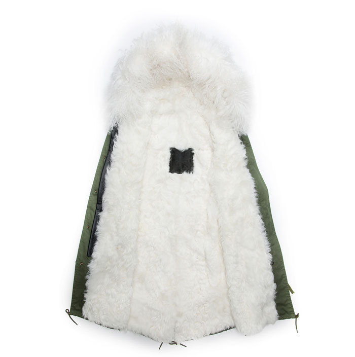 High guality long style wool coat fur Collar male white wool jacket