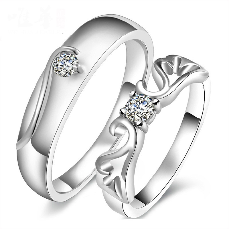 Fashion Open Silver Plated Wedding Rings Couple Rings Love Angel