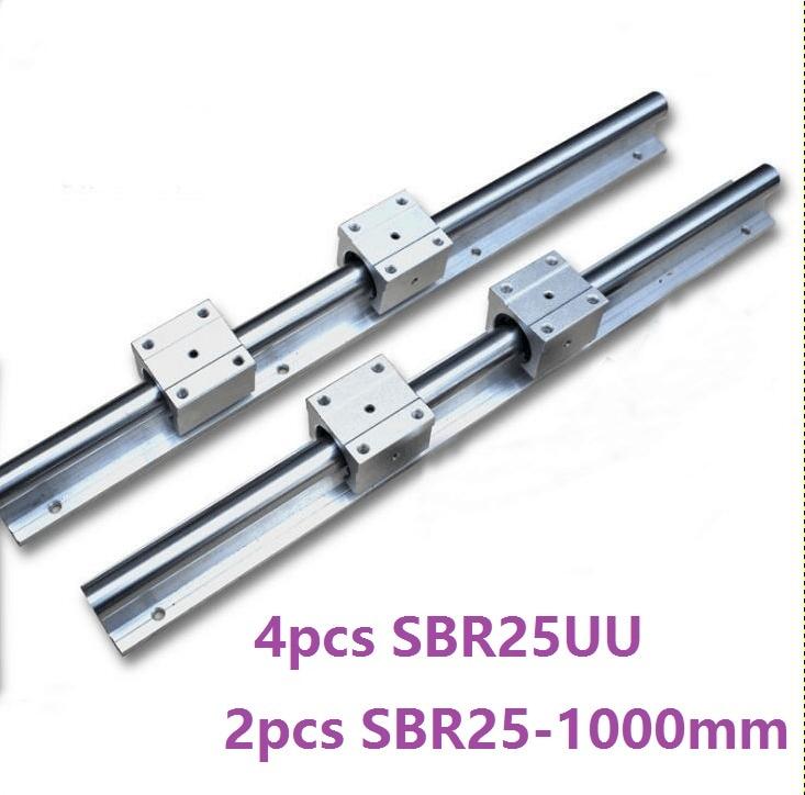 2pcs SBR25 25mm -L 1000mm support rail linear guide + 4pcs SBR25UU linear bearing blocks CNC parts linear rail guide 2pcs sbr12 l 1000mm support rail linear rail guide 4pcs sbr12uu linear bearing blocks cnc router parts