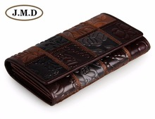 JMD Free Shipping Vintage Genuine Cow Leather Square Pattern Women Wallet 3 Folded Lady Wallets 8092-2C