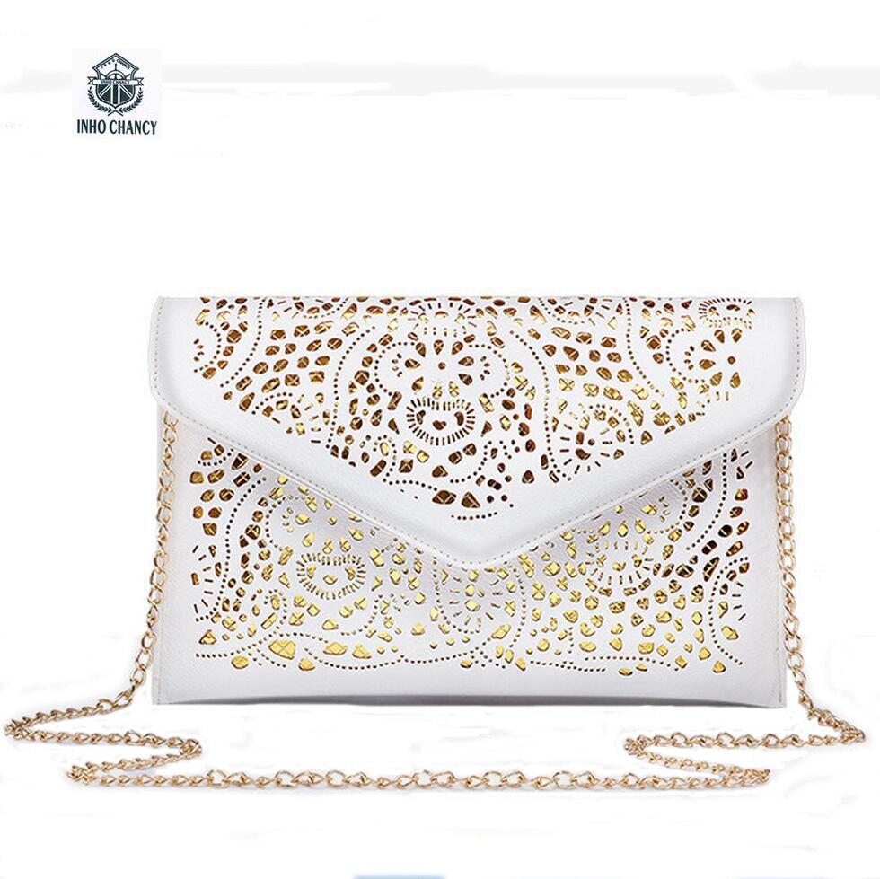 Clutches Purse PU WOMEN Hollow Out Messenger envelope bag carrying bag chain diagonal shoulder bag  Bolsos Bolsas CrossBody