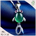 Good Quality Lovely and Cute Real Silver Fish Pendant With Green Opal Stone