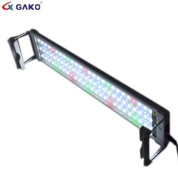 50 75 cm 18 w kleurrijke aquarium led verlichting aquarium licht lamp met uitschuifbare beugels 90 leds past voor aquarium decro