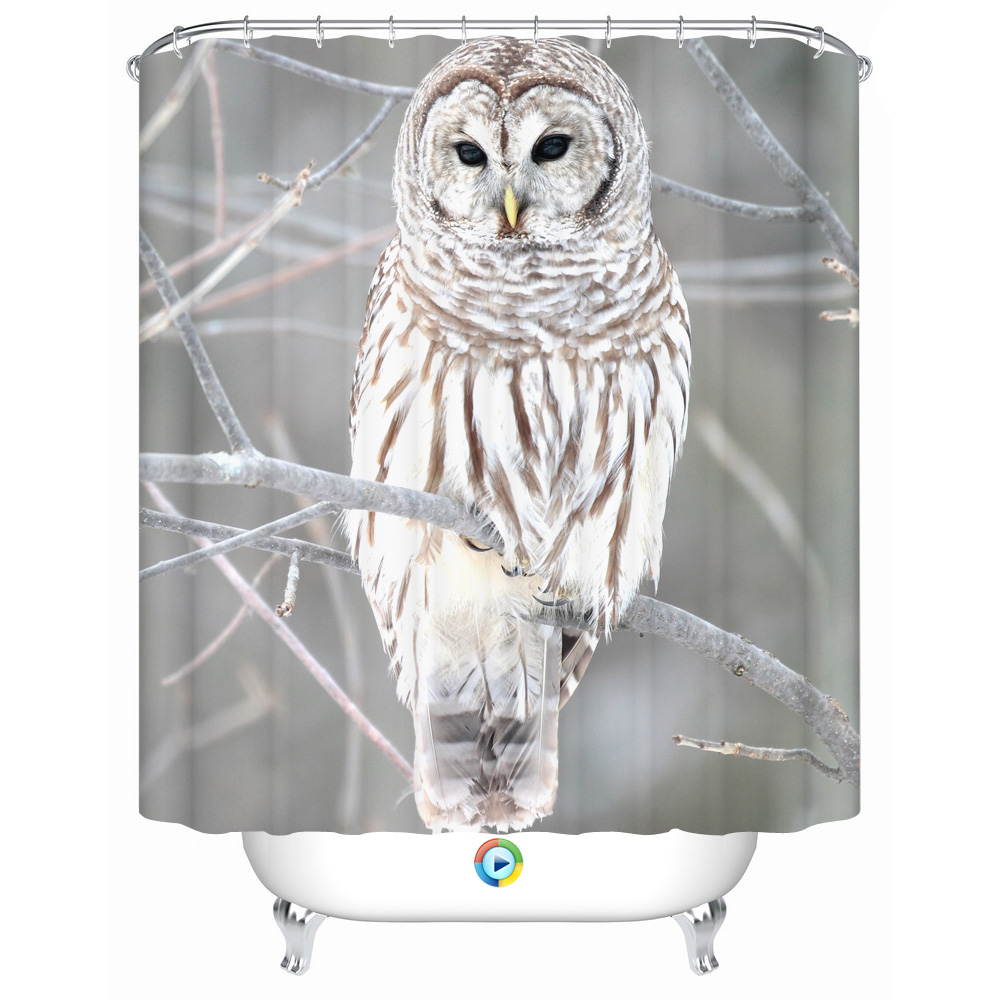 3d Shower Curtain Gray Fabric Owl Pattern Waterproof Aniti Mold Polyester Liner for Kids Bathroom Decor Accessory