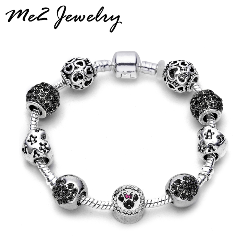 Dropshipping Silver Plated Beads Crystal Pulseras Mujer <font><b>Charm</b></font> <font><b>pan</b></font> <font><b>Bracelets</b></font> & Bangles Jewelry Accessories image