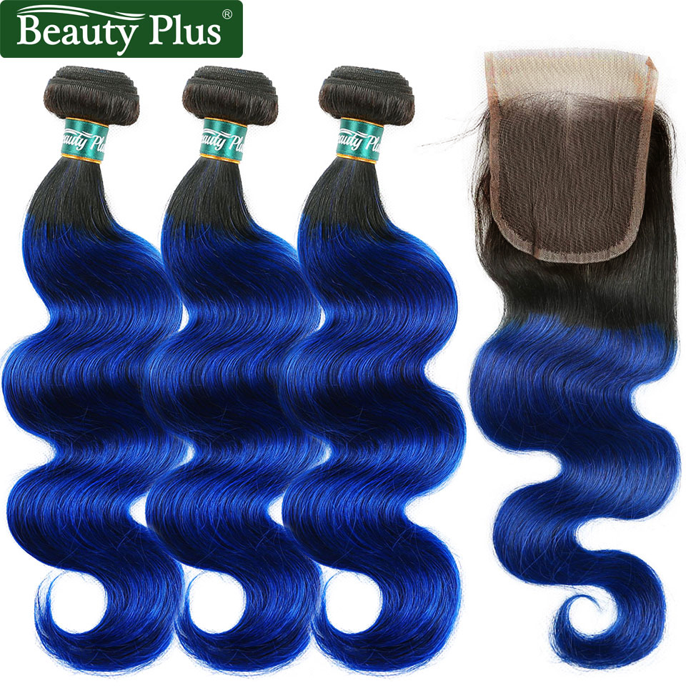 Blue Bundles With Closure Body Wave Brazilian Hair Ombre Bundles With Closure 3Pcs With Closure Non-Remy Human Hair Beauty Plus